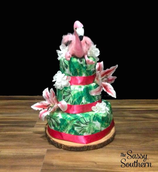 DIY Tropical Diaper Cake