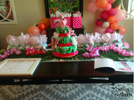 Diaper Cake Tropical Baby Shower Centerpiece
