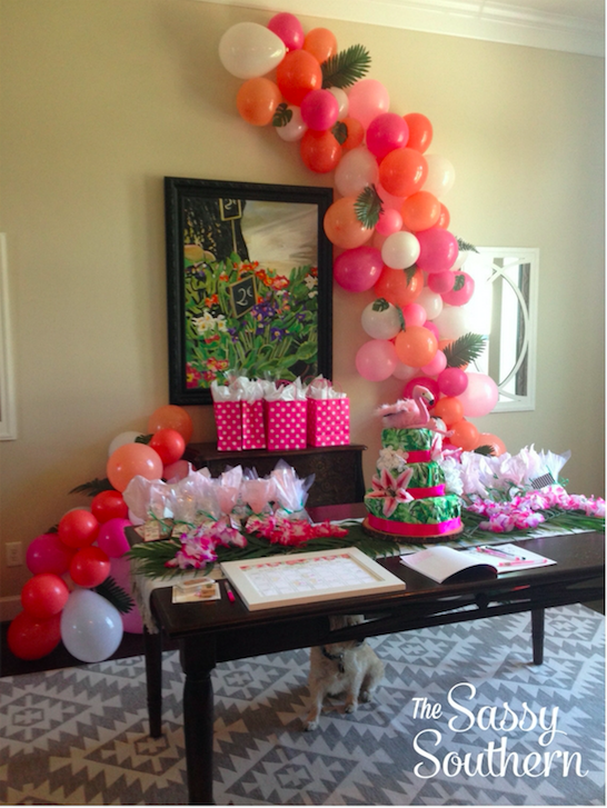 Tropical Themed Balloon Arch For A Baby Girl Shower By The Sassy