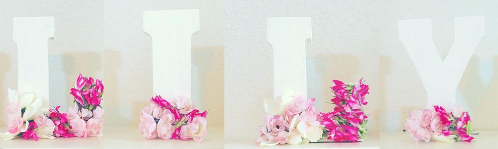 Floral DIY Wooden Block Letters