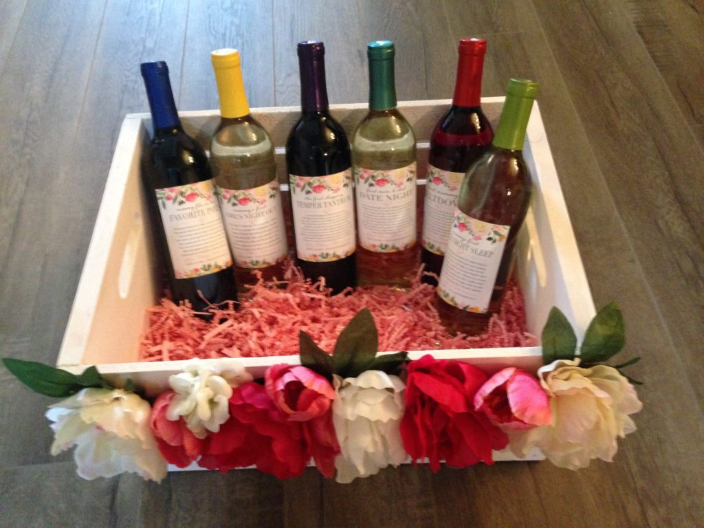 Mommy Milestone Custom Wine Label Basket