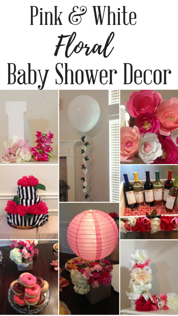 Pink and White Floral Baby Shower Decor
