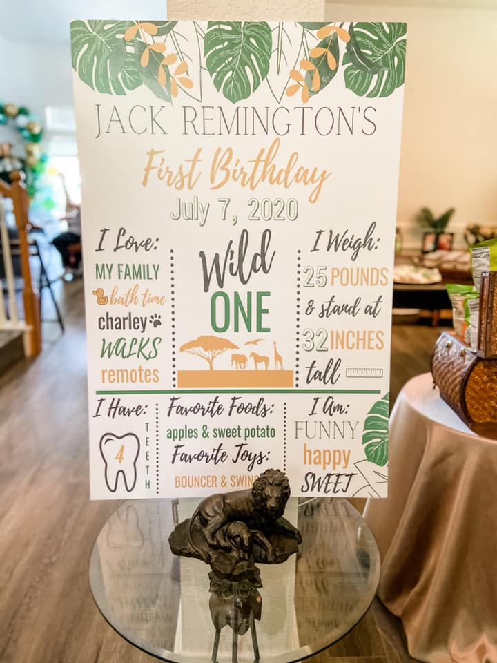 SAFARI MILESTONE BIRTHDAY SIGN