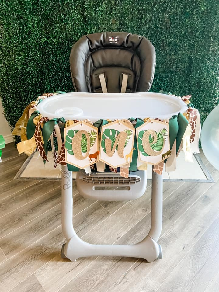 WILD ONE SAFARI HIGH CHAIR FIRST BIRTHDAY BANNER